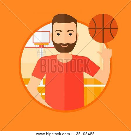 A hipster man with the beard spinning basketball ball on his finger. Young basketball player standing on the basketball court. Vector flat design illustration in the circle isolated on background.