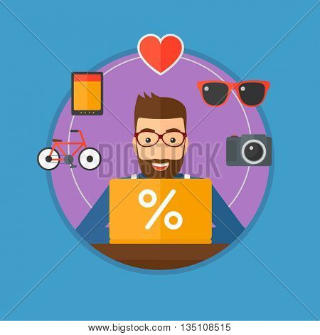 A hipster man sitting in front of laptop and some images of goods around him. Man doing online shopping. Man buying on internet. Vector flat design illustration in the circle isolated on background.