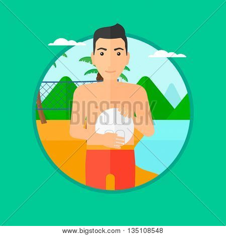 Young sportsman holding volleyball ball in hands. Sportive beach volleyball player standing at the shore with voleyball net. Vector flat design illustration in the circle isolated on background.
