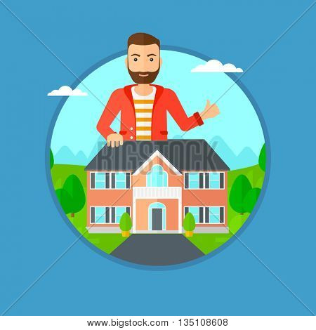 A hipster man standing behind the house and showing thumb up. Real estate agent offering the house. Young man giving thumb up. Vector flat design illustration in the circle isolated on background.