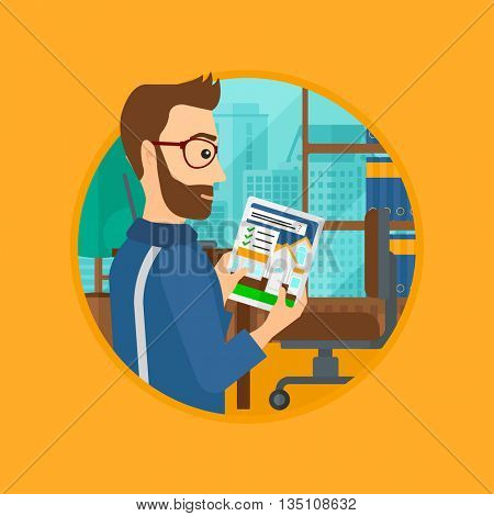 A hipster man looking at house on a digital tablet screen. Man standing in office and looking for house on tablet computer. Vector flat design illustration in the circle isolated on background.