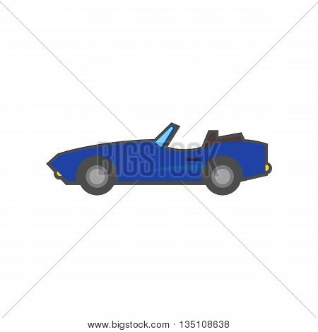Cabriolet vector icon. Colored line icon of car