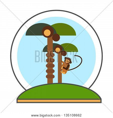 Coconut palms with monkey vector icon. Colored line icon of two coconut palm trees and monkey climbing tree