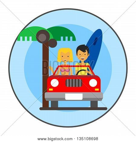 Couple in cabriolet icon. Colored line icon of male and female characters travelling in cabriolet