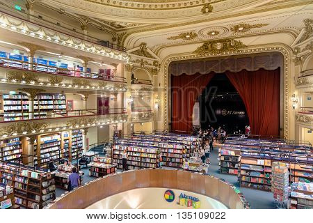 Buenos Aires Argentina - circa March 2016. The famous bookshop El Ateneo Grand Splendid. It's situated at 1860 Santa Fe Avenue. In 2008 it was placed as the second most beautiful bookshop in the world