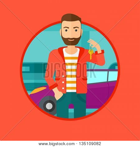 Hipster man with the beard holding keys to his new car. Happy young man showing key to his new car on the background of car shop. Vector flat design illustration in the circle isolated on background.