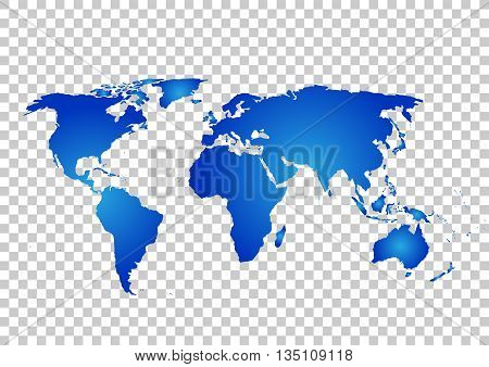 Blue vector map. World map blank. World map template. World map on the background of the grid. Vector illustration.