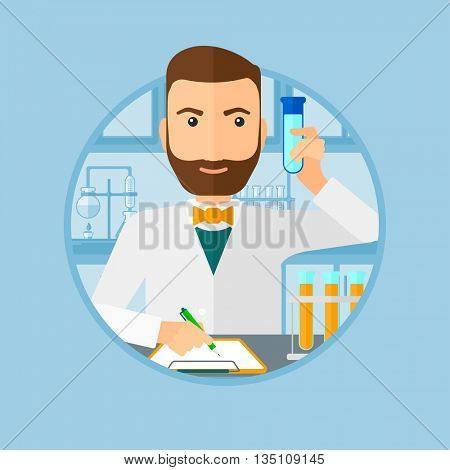A hipster laboratory assistant with the beard taking some notes. Laboratory assistant working with a test tube at the lab. Vector flat design illustration in the circle isolated on background.