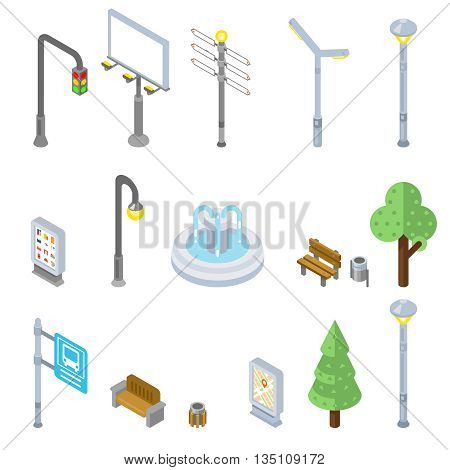 Isometric city street icons. Vector 3d street urban objects. Street icon city, isometric street urban, tree street isometry icon illustration