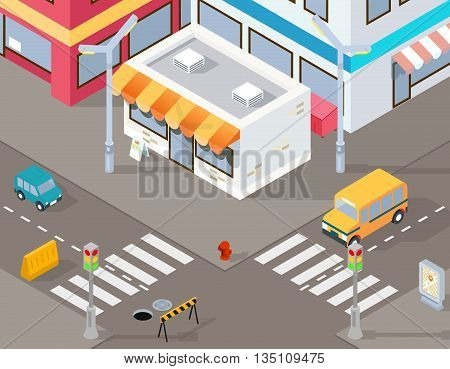 Isometric street or vector 3d road illustration. Street road cross, building street, transport street