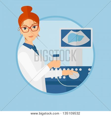 Female doctor sitting with ultrasound scanner in hands. Female doctor working on modern ultrasound equipment at medical office. Vector flat design illustration in the circle isolated on background.