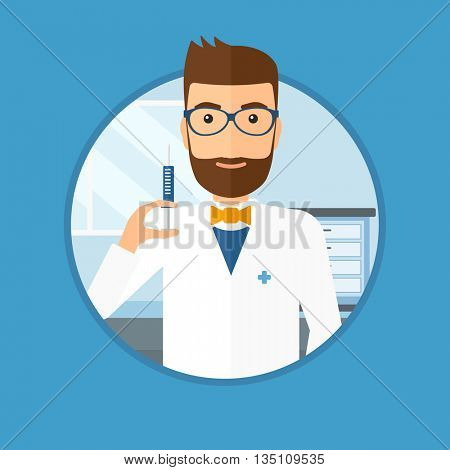 Male doctor holding medical injection syringe. Doctor with syringe in hospital ward. Doctor holding a syringe ready for injection. Vector flat design illustration in the circle isolated on background.