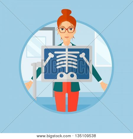 Patient during chest x ray procedure in examination room. Young woman with x ray screen showing his skeleton at doctor office. Vector flat design illustration in the circle isolated on background.
