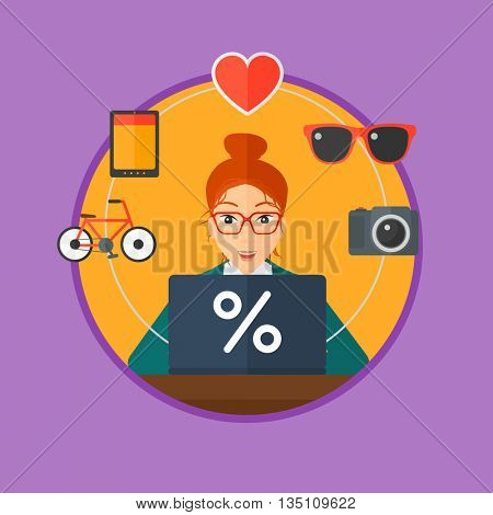 Woman sitting in front of laptop and some images of goods around her. Woman doing online shopping. Woman buying on the internet. Vector flat design illustration in the circle isolated on background.