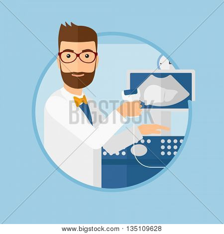 Hipster male doctor with ultrasound scanner in the hands. Male doctor working on modern ultrasound equipment at medical office. Vector flat design illustration in the circle isolated on background.