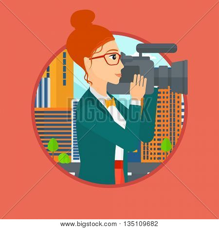 Young female cameraman looking through movie camera. Woman with professional video camera in the city. Woman shooting outdoor. Vector flat design illustration in the circle isolated on background.