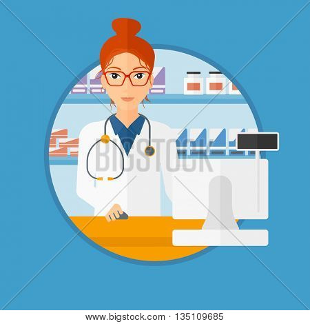 Young pharmacist in medical gown standing at pharmacy counter with cash machine. Female pharmacist working in the drugstore. Vector flat design illustration in the circle isolated on background.