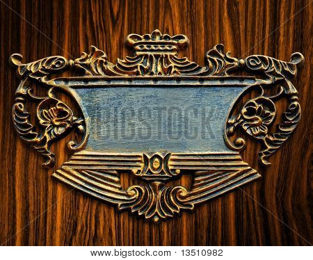 elegant sign on wood background
