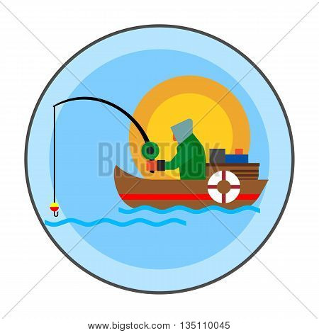 Summer fishing icon. Colored line icon of fisherman with fishing rod in boat