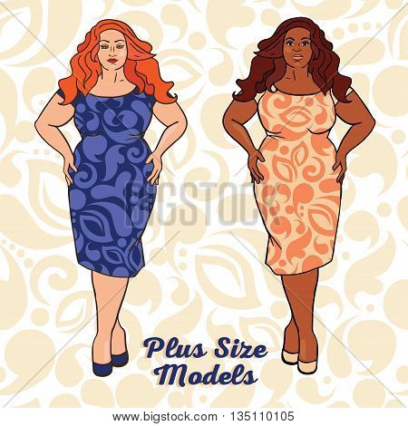 two different nation ladies in cocktail dresses, plus size models, vector illustration
