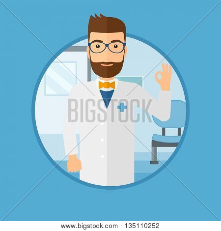 Doctor in medical gown showing ok sign. Smiling doctor gesturing ok sign. Doctor with ok sign gesture in the hospital corridor. Vector flat design illustration in the circle isolated on background.
