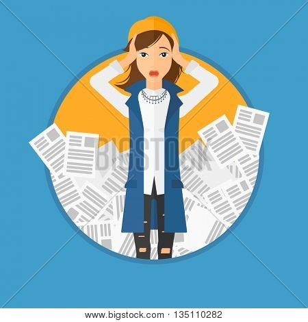 A stressed business woman clutching her head because of having a lot of work to do. Busy business woman with lots of papers. Vector flat design illustration in the circle isolated on background.