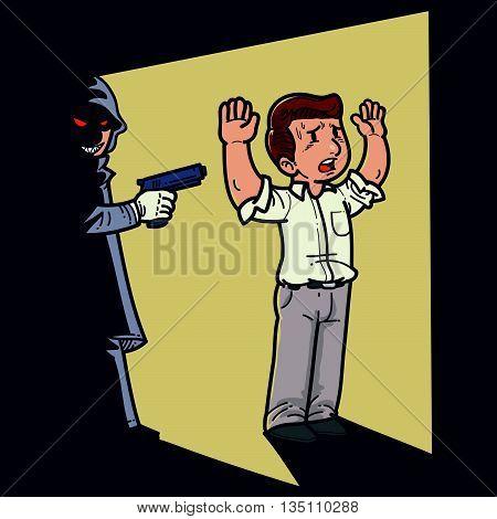 Vector illustration of a killer in the dark