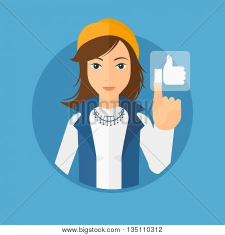 Young woman pressing like button. Woman pressing modern social button with thumb up. Woman pressing social network button. Vector flat design illustration in the circle isolated on background.