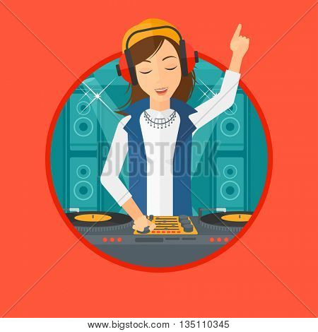 Young DJ mixing music on turntables on the stage of nightclub. DJ playing and mixing music on deck with vinyl record. Vector flat design illustration in the circle isolated on background.