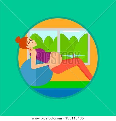 Pregnant woman doing exercises with ball indoor. Pregnant woman doing exercises lying on fitball. Woman exercising on fitball. Vector flat design illustration in the circle isolated on background.