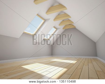 Empty new room with mansard windows. 3D illustration.