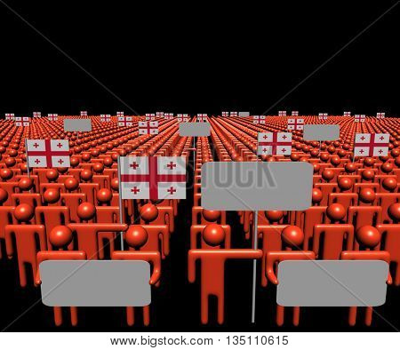 Crowd of people with signs and Georgian flags 3d illustration