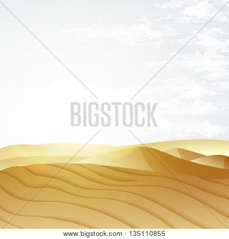 Desert landscape with blue sky. Dunes background. Landscape nature sand desert with dunes