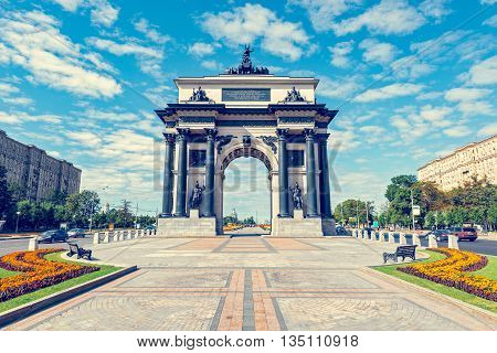 Triumphal Arch in Moscow, built in honor of the victory of the Russian people in the war of 1812. Kutuzov Avenue in Moscow.