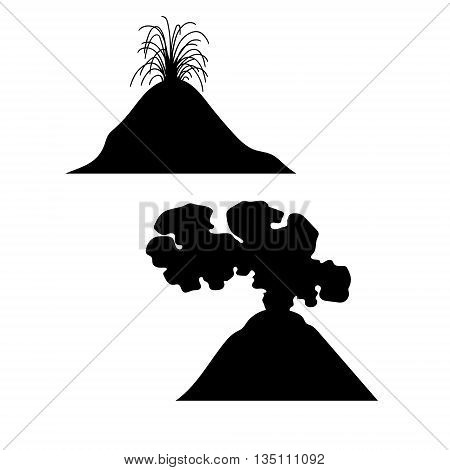 Volcano vector set of silhouettes. Black and white illustrations.