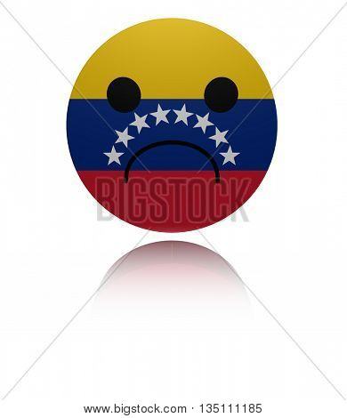 Venezuela sad icon with reflection 3d illustration