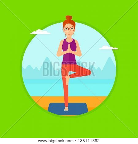 Young woman standing in yoga tree position. Woman meditating in yoga tree position on the beach. Man doing yoga on nature. Vector flat design illustration in the circle isolated on background.