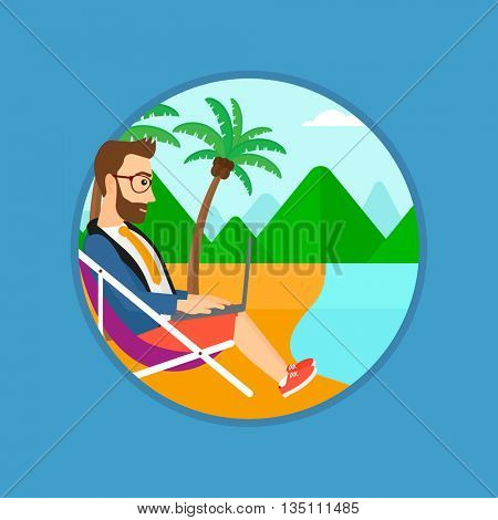 A hipster businessman with the beard working on the beach. Businessman sitting in chaise lounge and working on a laptop. Vector flat design illustration in the circle isolated on background.