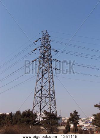 high pylon under blue sky in winter