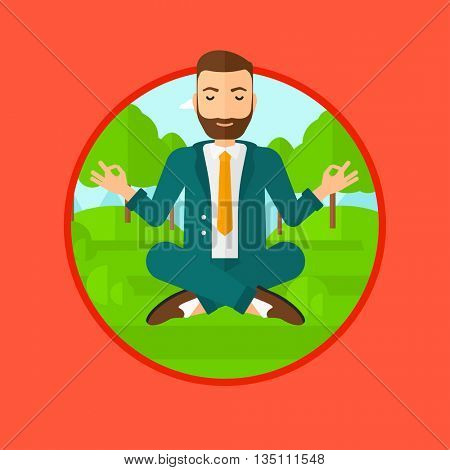 A hipster businessman with the beard meditating in yoga lotus position. Businessman relaxing in the park in the lotus position. Vector flat design illustration in the circle isolated on background.