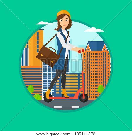 Woman riding a kick scooter. Business woman with briefcase riding to work on scooter. Woman on kick scooter in the city street. Vector flat design illustration in the circle isolated on background.