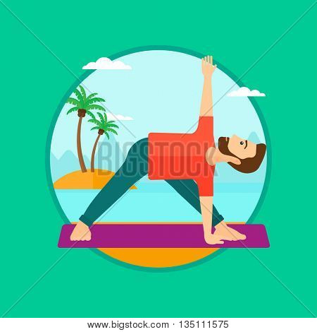A hipster man standing in yoga triangle pose. Man meditating in yoga triangle position on the beach. Man doing yoga on nature. Vector flat design illustration in the circle isolated on background.