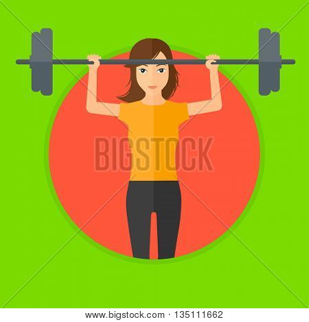 Sporty woman lifting a heavy weight barbell. Sports woman doing exercise with barbell. Female weightlifter holding a barbell. Vector flat design illustration in the circle isolated on background.