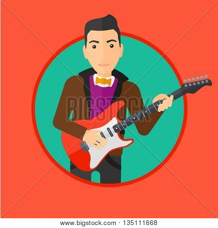 Young musician playing electric guitar. Man practicing in playing guitar. Guitarist playing music. Vector flat design illustration in the circle isolated on background.
