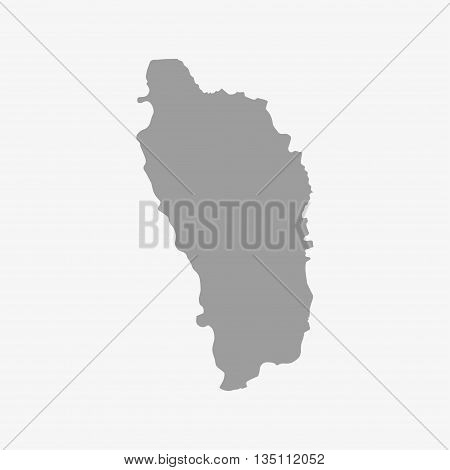 Dominica map in gray on a white background