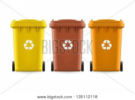 Set of brown yellow and orange buckets for trash with sign arrow