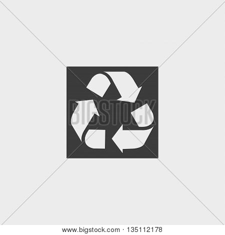 Recycle icon in a flat design in black color. Vector illustration eps10