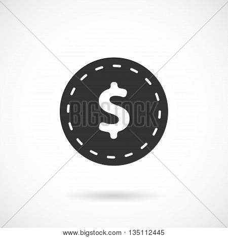 Vector Grey Dollar Icon isolated over white.