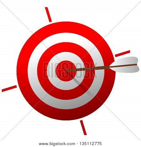 Red Target with arrow. Color Target. Target isolated on white background. vector icon.