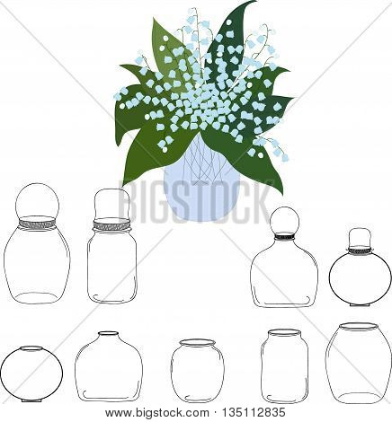 Jars set, bouquet of lilies of the valley in jar, vector illustration